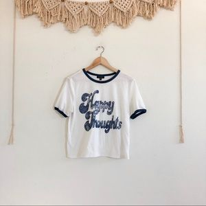 Topshop Happy Thoughts Retro Ringer Tee
